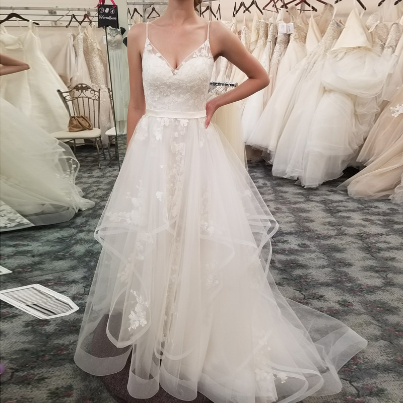 A-Line Spaghetti Straps Sweep Train Wedding Dress with Appliques