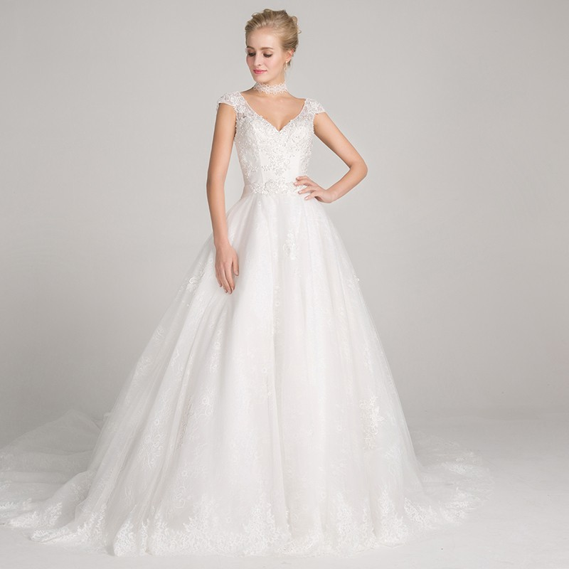 A-Line V-Neck Cap Sleeves Court Train Wedding Dress with Appliques