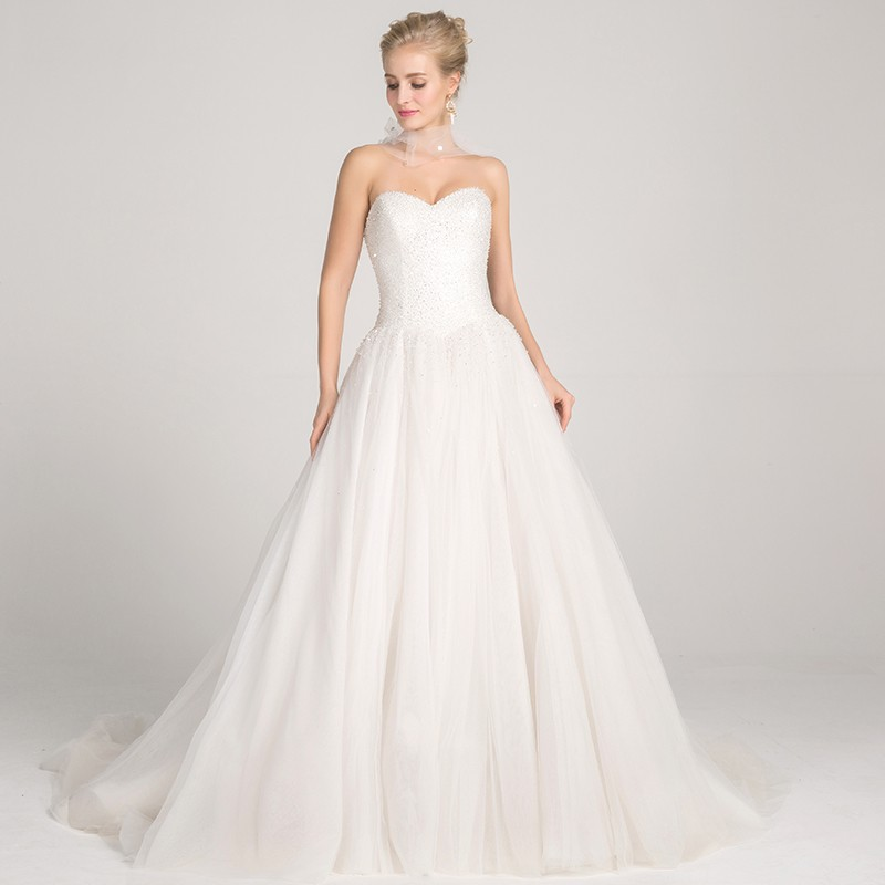 Ball Gown Sweetheart Backless Court Train Wedding Dress with Sequins