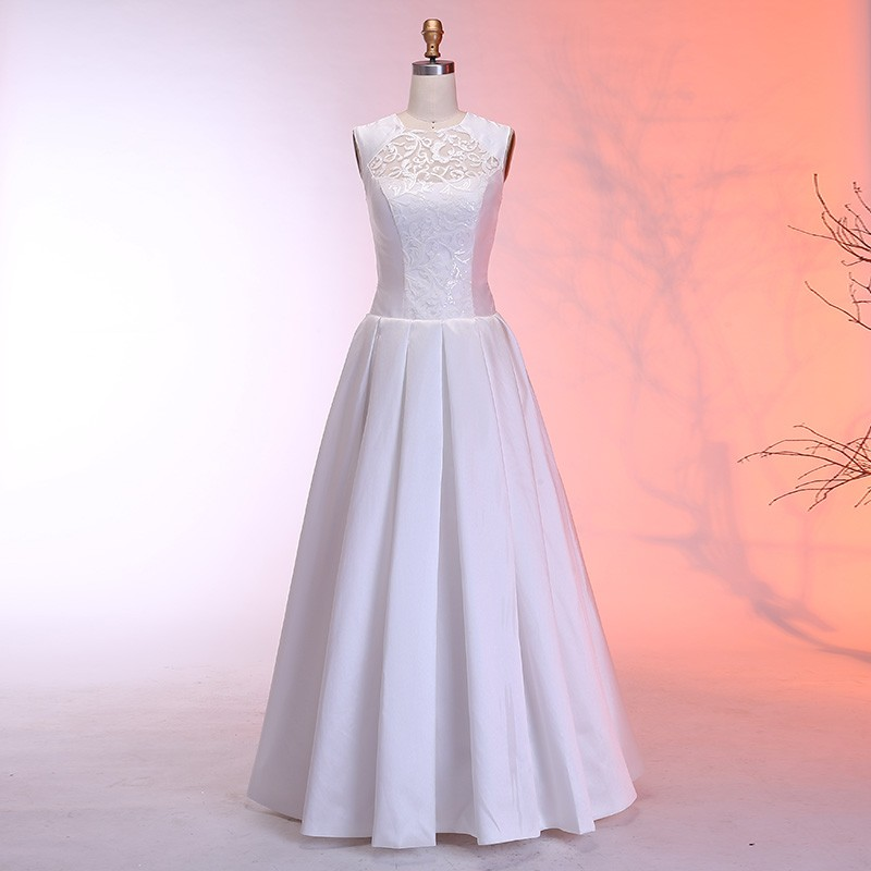 A-Line Round Neck Floor-Length Satin Wedding Dress with Lace