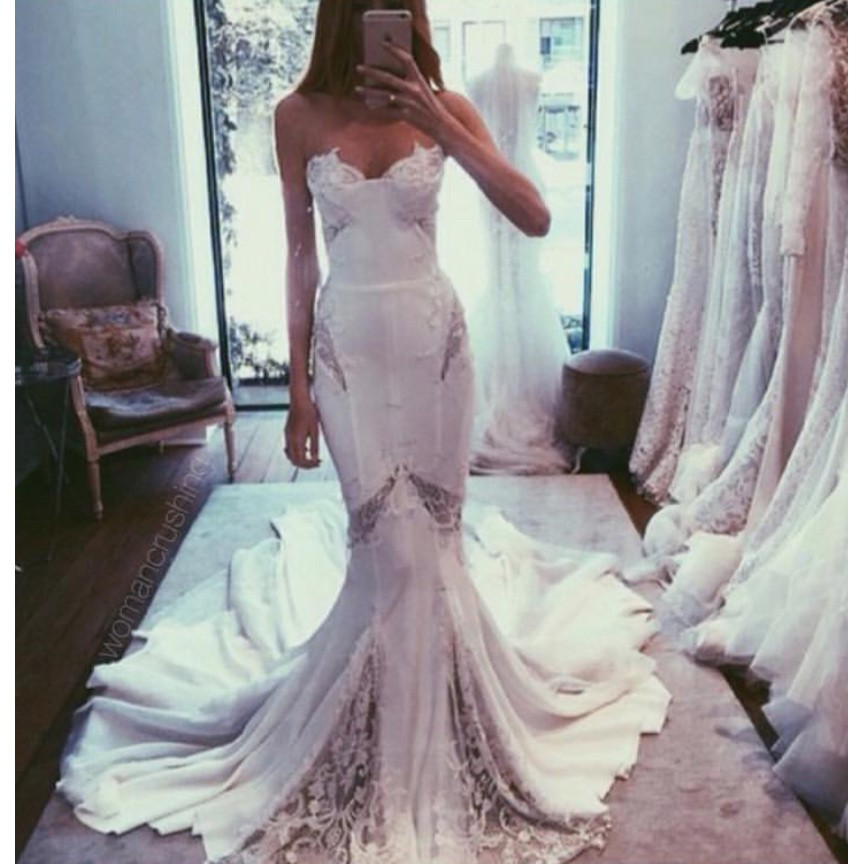 High Quality Sweetheart Long Mermaid Wedding Dress Bridal Gowns with Lace
