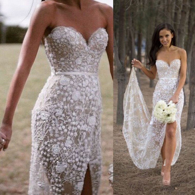 Elegant Sweetheart Mermaid Lace Wedding Dress with Slit Sash