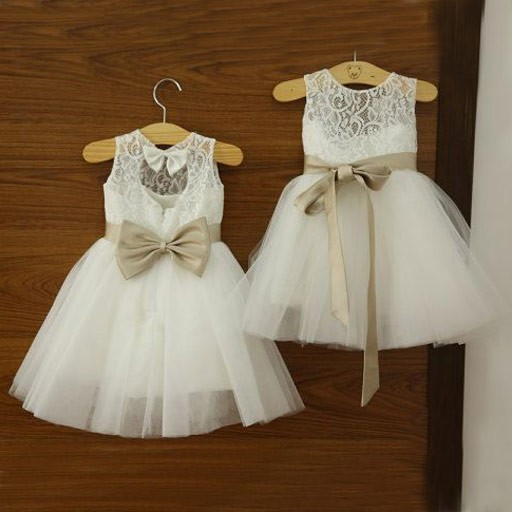 Beauty Jewel White Lace Tulle Princess Flower Girl Dress with Bowknot