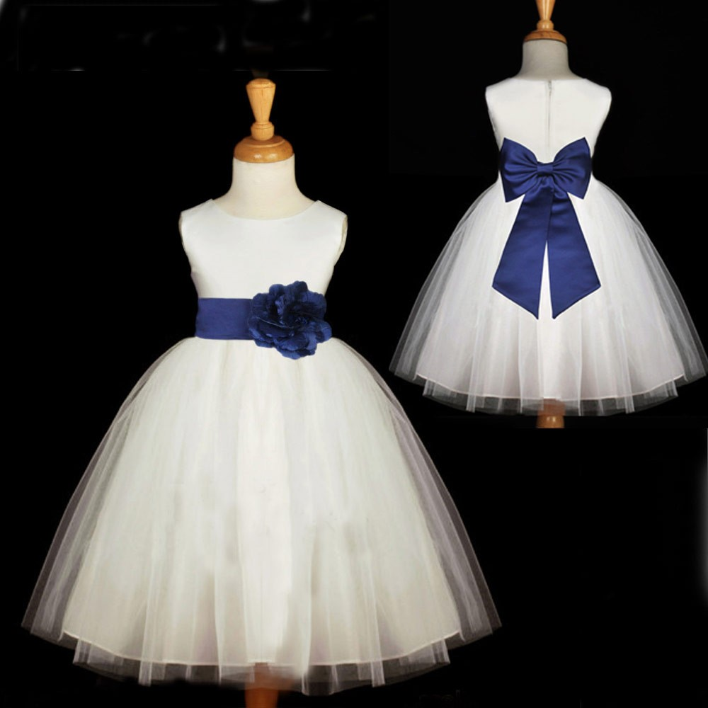 New Scoop Ball Gown Tulle Princess White Flower Girl Dress Waist with Flower Bowknot