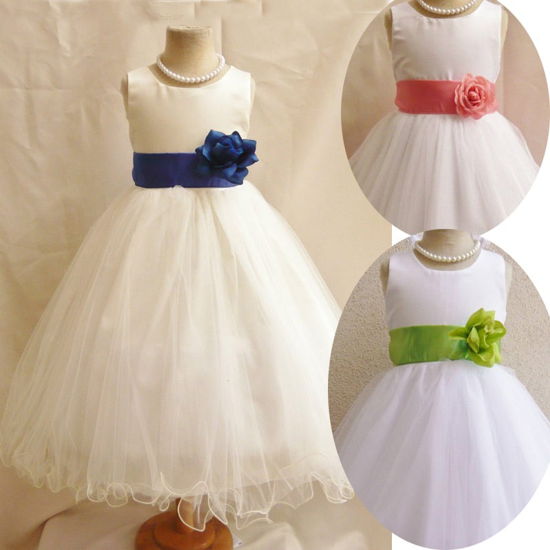 Charming 2015 Scoop Princess White Organza Ball Gown Flower Girl Dress