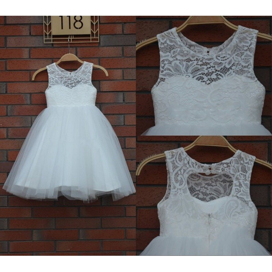 Cute Scoop Lace Tulle Empire Princess White Sleeveless Flower Girl Dress