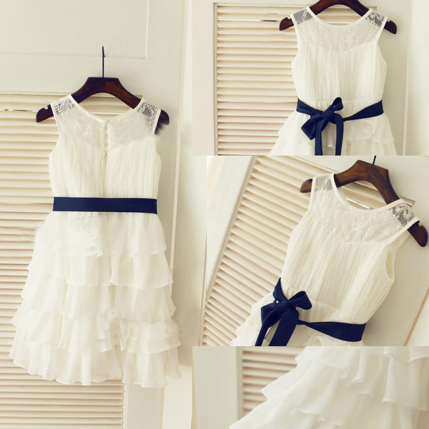 Pretty Scoop Lace Organza Princess White Ruffles Flower Girl Dress with Sash