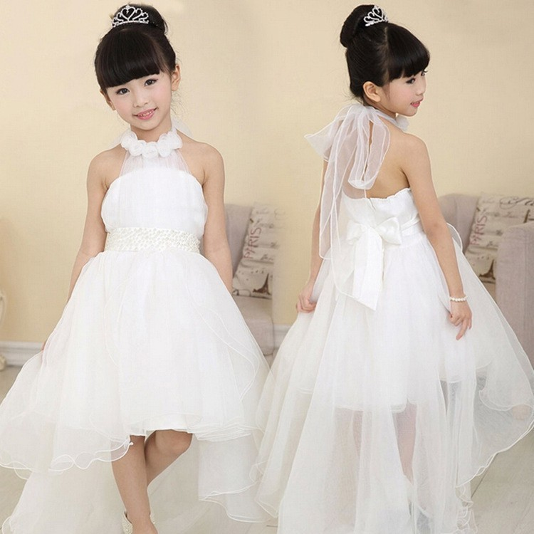 Cute Halter Princess Hi-Low Organza White Flower Girl Dress Wedding Party with Bowknot