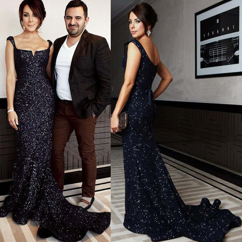 Stunning Long Prom/Evening Party Dress - Dark Navy Sheath Sequined with Sash