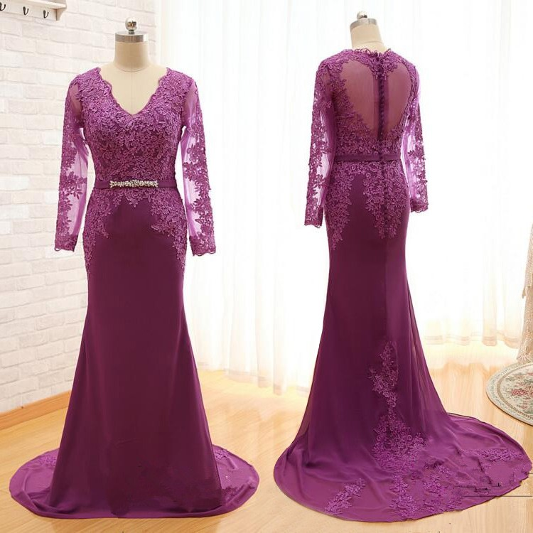 Honorable V-Neck Long Mermaid Maroon Mother of the Bride Dresses with Appliques