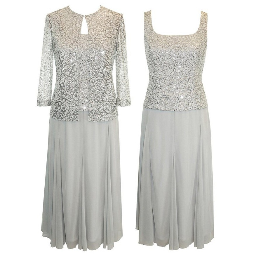 Elegant Square Plus Size Mother of the Bride Dresses with Lace Jacket
