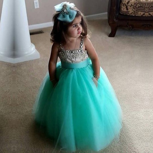 Princess Floor Length Turquoise Ball Gown Flower Girl Dress with Rhinestone
