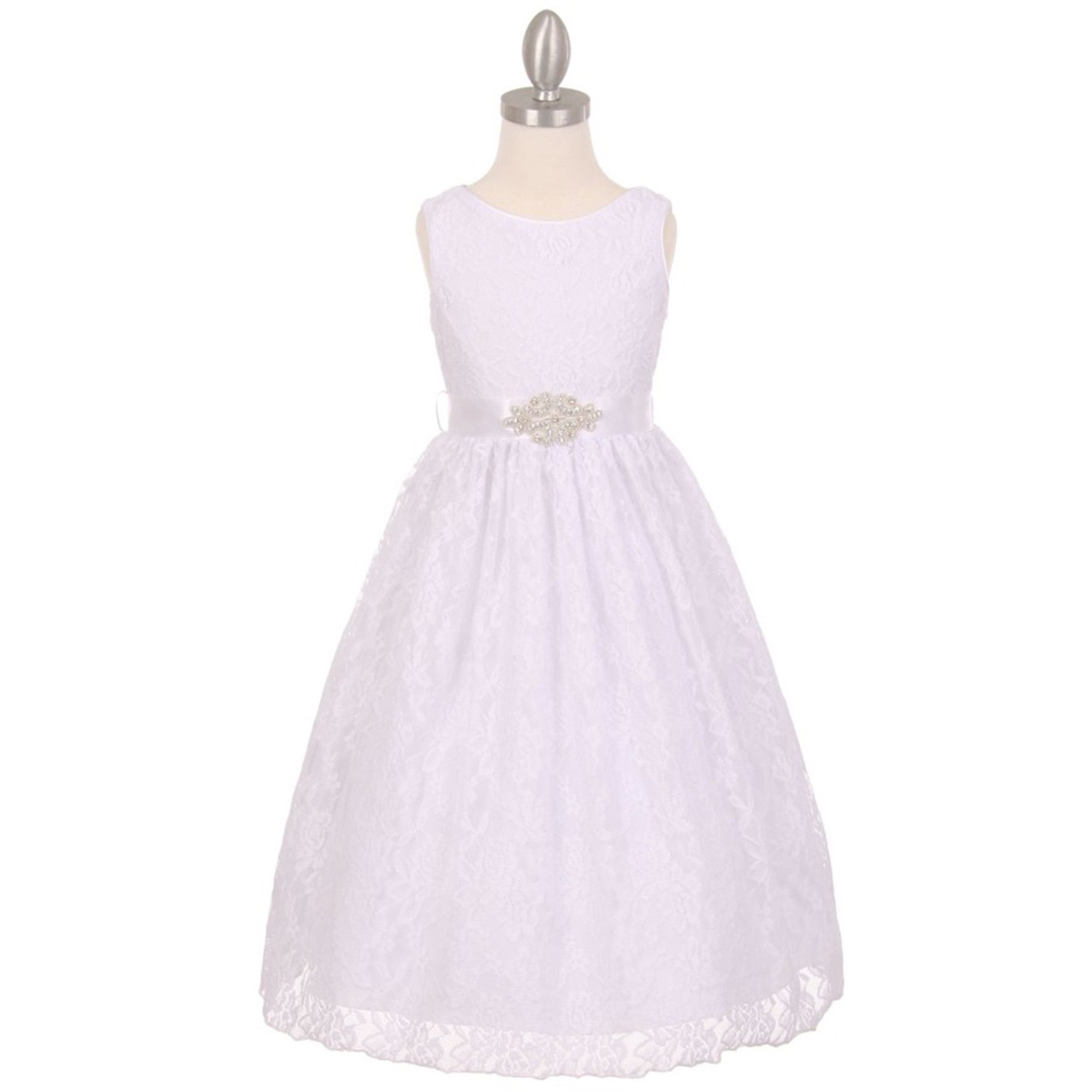 New Arrival White Lace Flower Girl Dresses with Rhinestone