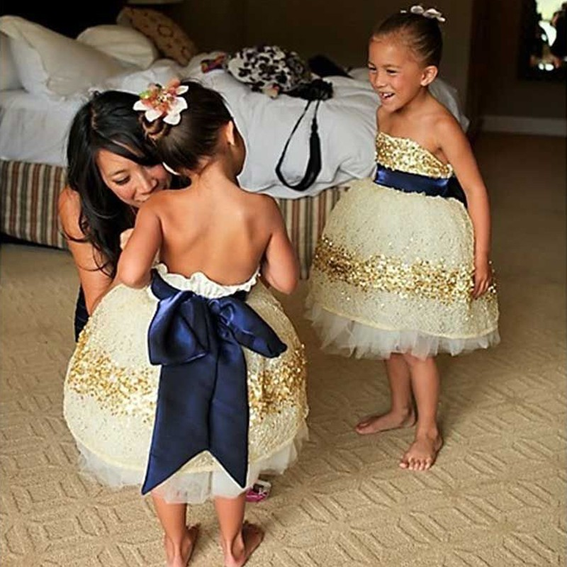 Princess Ball Gown Strapless Flower Girl Dress with Gold Sequins