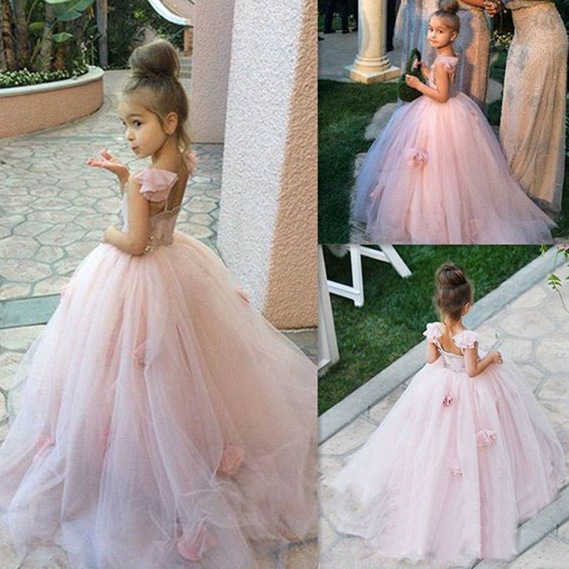 Ball Gown Pink Flower Girl Dress with Flowers Jewel Sleevelss Open Back Floor-Length