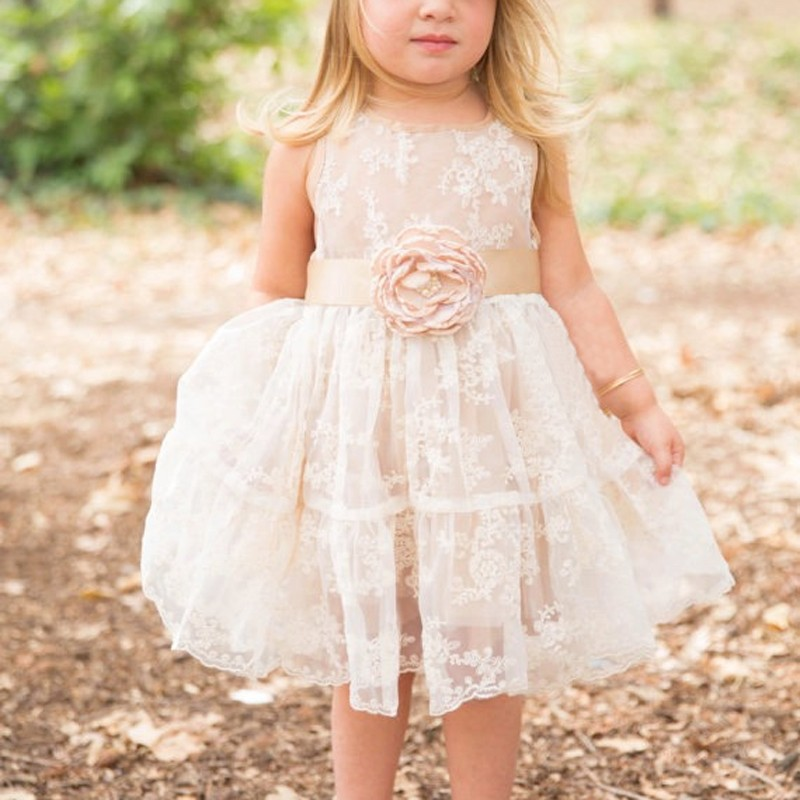 Short Lace Flower Girl Dress with Champagne Sash Flower Jewel Neck Sleevelss