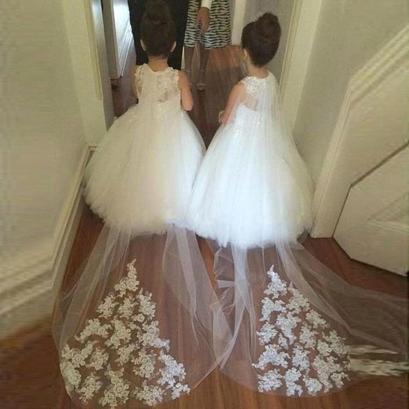 Ball Gown White Flower Girl Dress with Lace Top Court Train