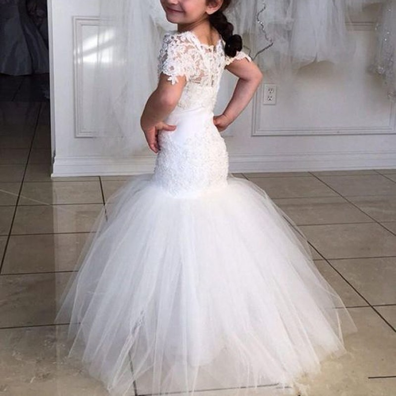 Sheath White Flower Girl Dress with Lace Top Short Sleeves