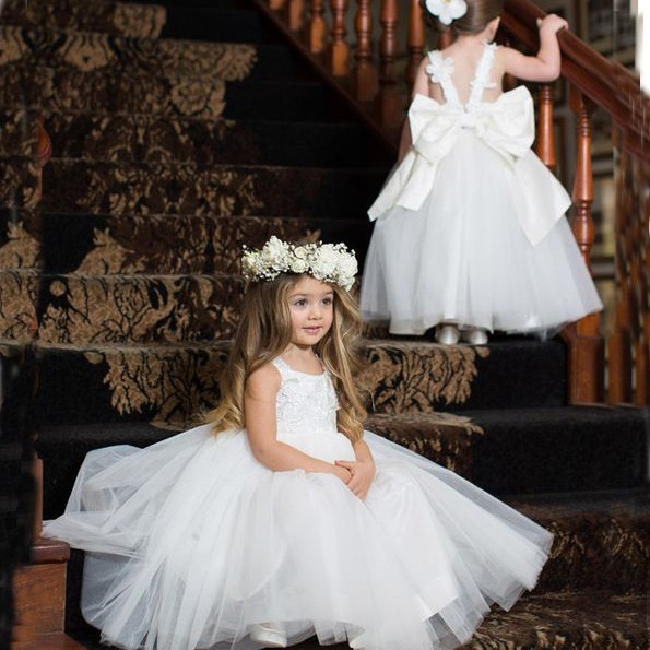 Mid-Calf White Flower Girl Dress with Tiered Lace Top