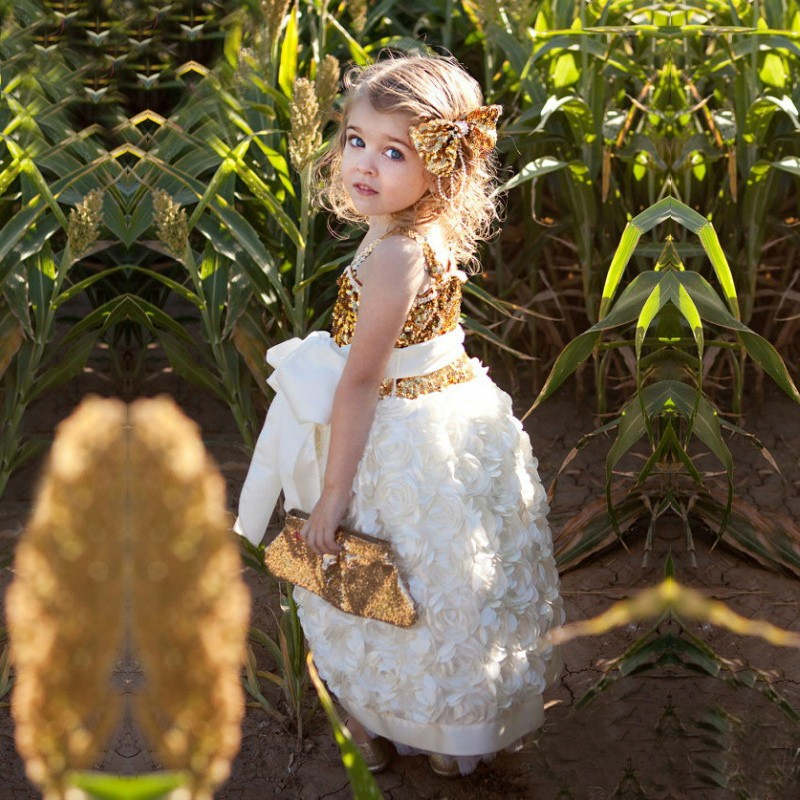 Cute Flower Girl Dress - Square Neck Sleeveless Hi-Low Organza with Sash Gold Sequined Top