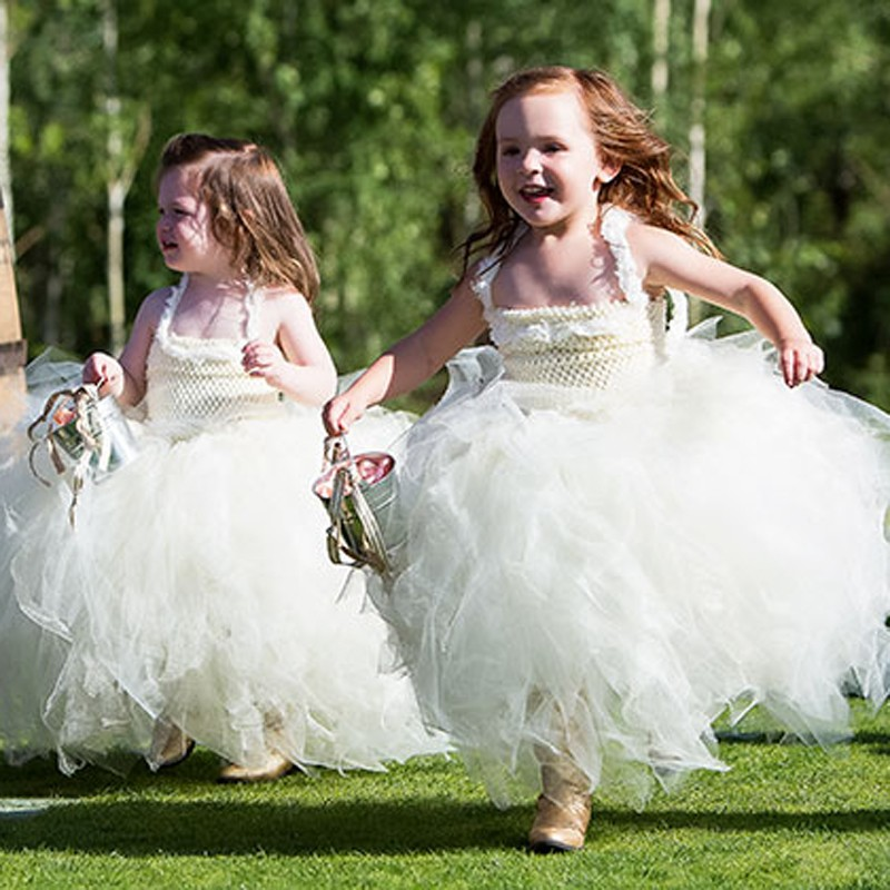 Cute Tiered Flower Girl Dress - Square Neck Ankle-Length with Lace