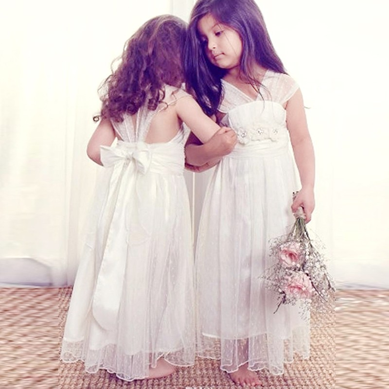 A-line Floor-Length V-neck Cap Sleeves Flower Girl Dress with Bowknot Beading Flowers