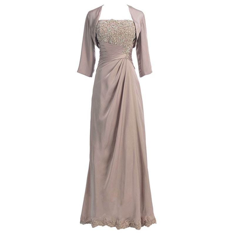 Sheath Strapless Long Champagne Mother of The Bride Dress with Beading Appliques Shawl
