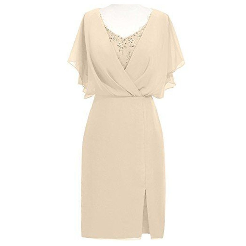 Sheath Scoop Short Sleeves Beige Mother of The Bride Dress with Beading Split