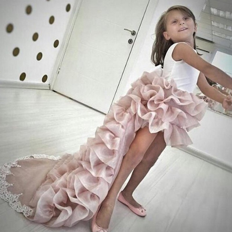 High Low Round Neck Light Champagne Tiered Organza Flower Girl Dress with Lace