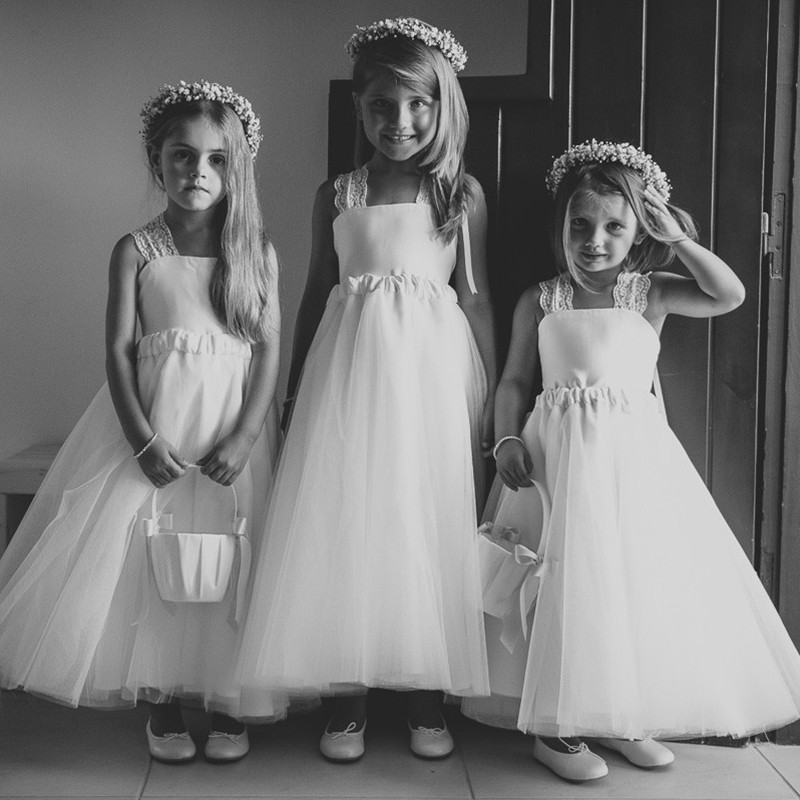 A-Line Square Criss-Cross Straps White Tulle Flower Girl Dress with Lace