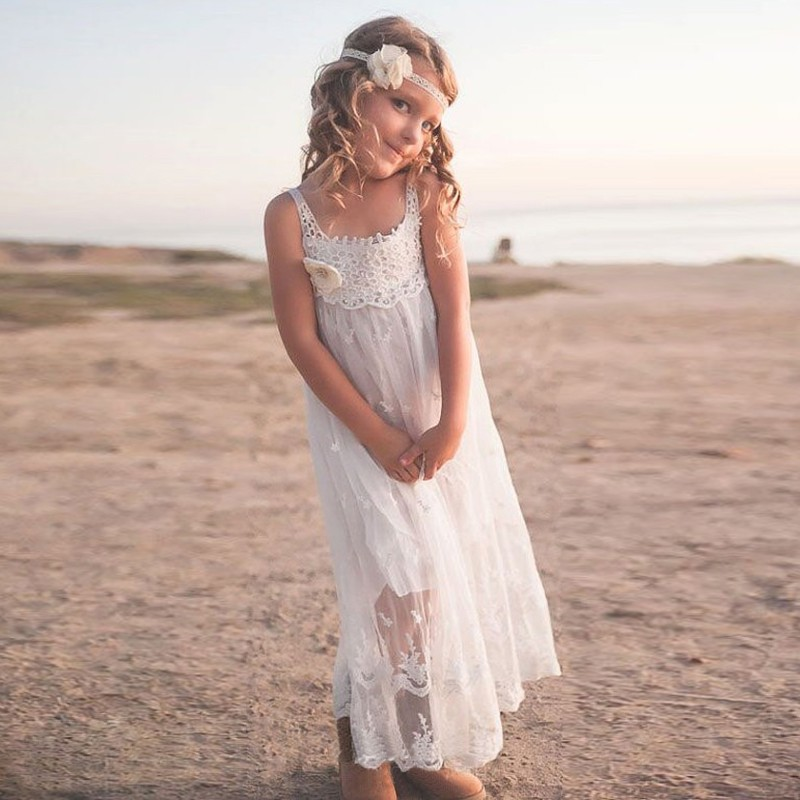A-Line Square Tea-Length White Flower Girl Dress with Lace Appliques Flowers