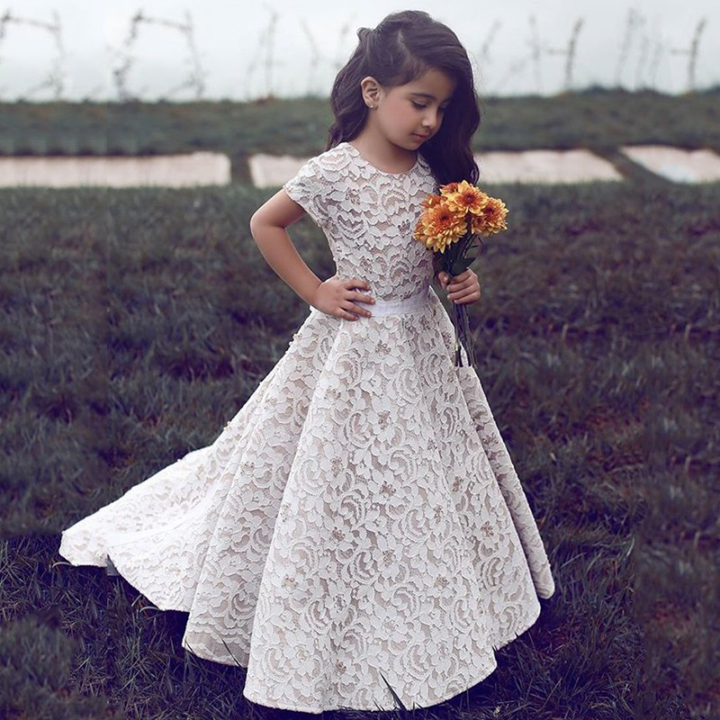 A-Line Round Neck Short Sleeves Sweep Train Ivory Lace Flower Girl Dress