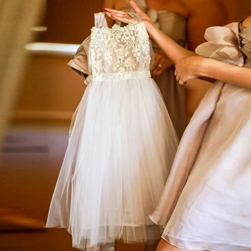 A-Line Square Tea-Length White Tulle Flower Girl Dress with Appliques