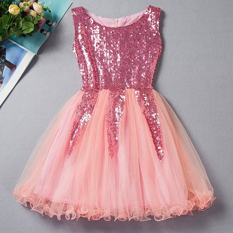 A-Line Bateau Short Pink/Champagne Tulle Flower Girl Dress with Sequins