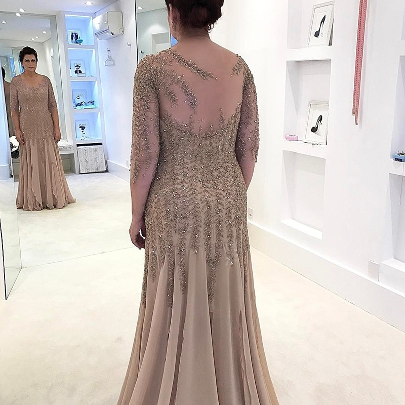 Sheath Illusion Champagne Chiffon Mother of the Bride Dress with Beading Sleeves