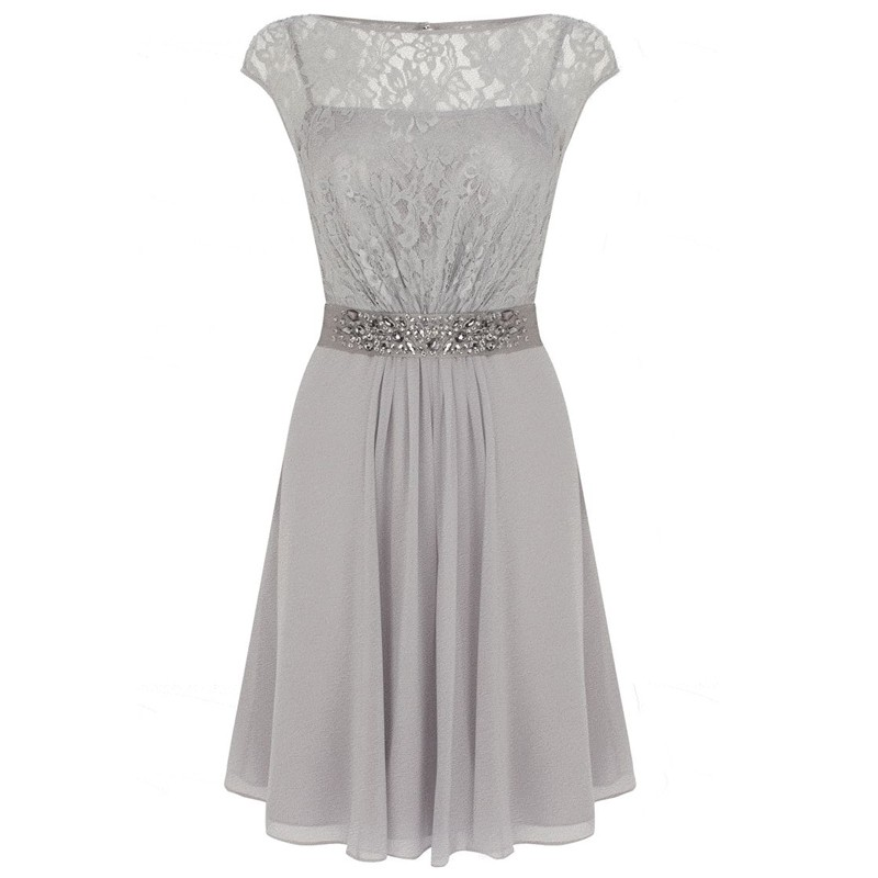 A-Line Cap Sleeves Light Grey Chiffon Mother of The Bride Dress with Lace Beading