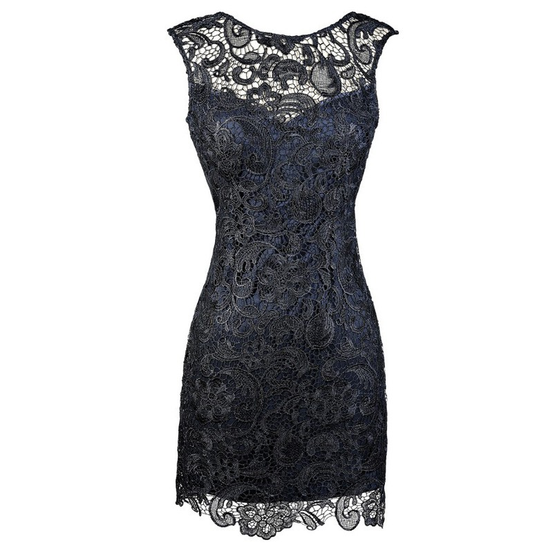 Sheath Bateau Backless Short Navy Blue Lace Mother of The Bride Dress