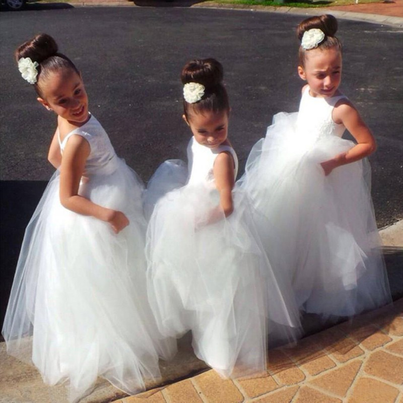 A-Line Bateau Backless White Tulle Flower Girl Dress with Lace