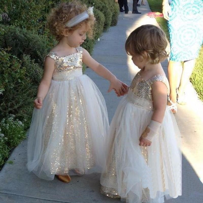 A-Line Square Neck Ankle-Length Tulle Flower Girl Dress with Sequins