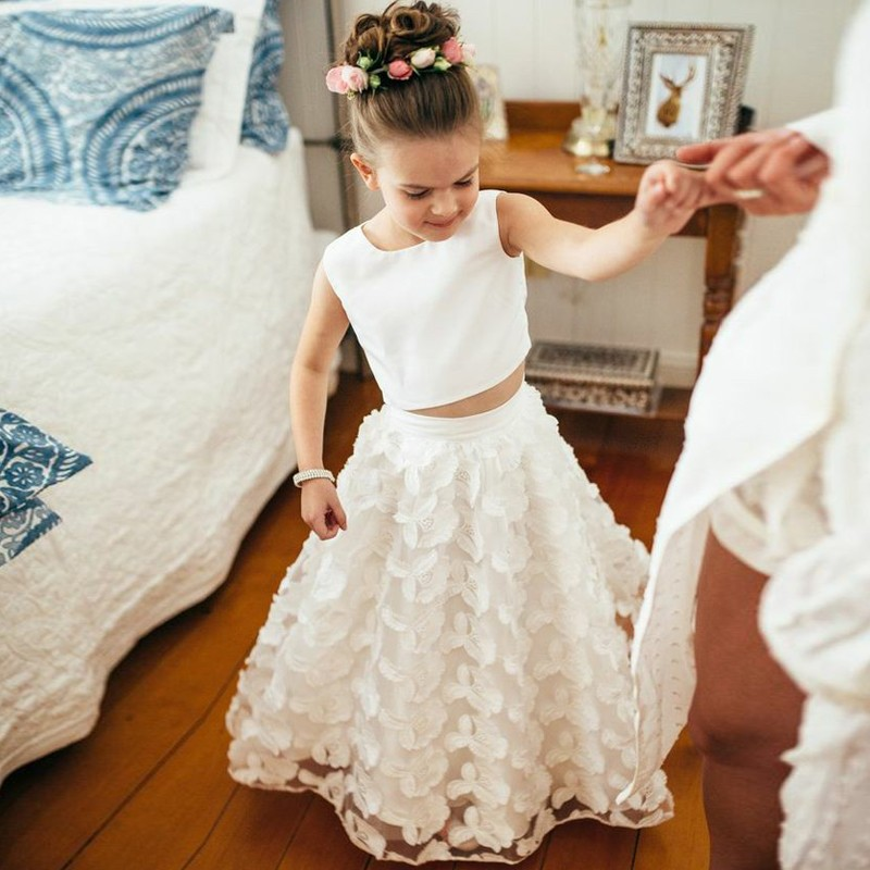 Two Piece Round Neck Ankle-Length White Lace Flower Girl Dress