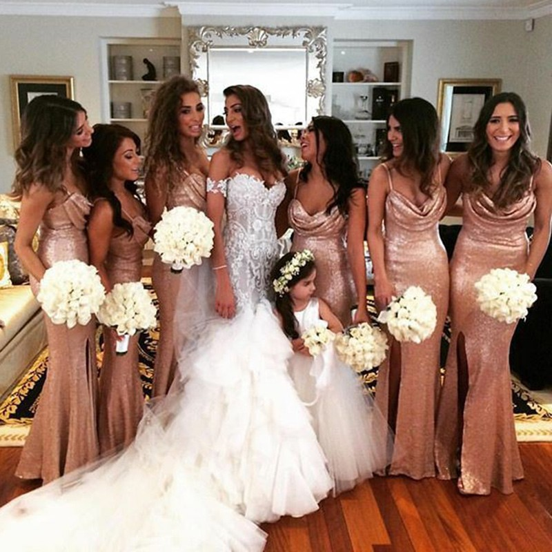 Mermaid Spaghetti Straps Floor-Length Gold Sequined Bridesmaid Dress