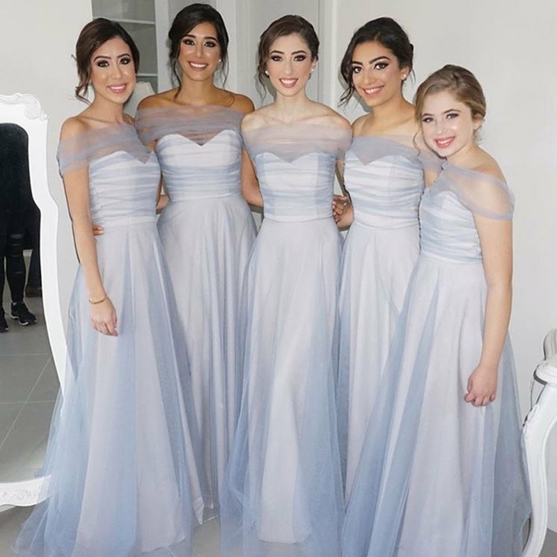 A-Line Sweetheart Floor-Length Blue Tulle Bridesmaid Dress