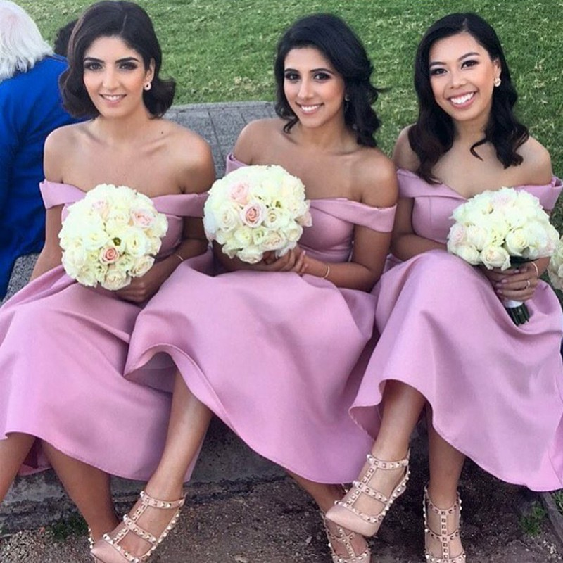 A-Line Off-the-Shoulder Knee-Length Pink Bridesmaid Dress