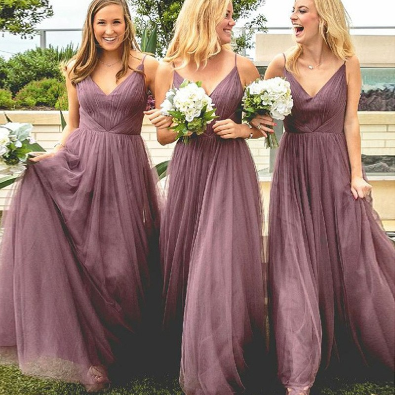 A-Line Spaghetti Straps Long Dusty Rose Tulle Bridesmaid Dress